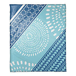Boho Tribal Throw Blanket in Blue/White