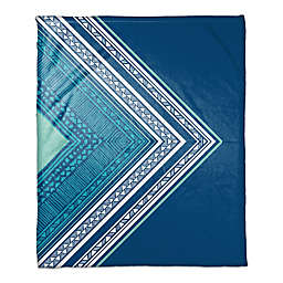 Asymmetrical Boho Tribal Throw Blanket in Blue