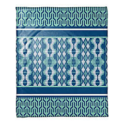 Boho Tribal Throw Blanket in Blue Mint/White