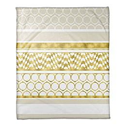 Layered Patterns Throw Blanket in Gold/Cream