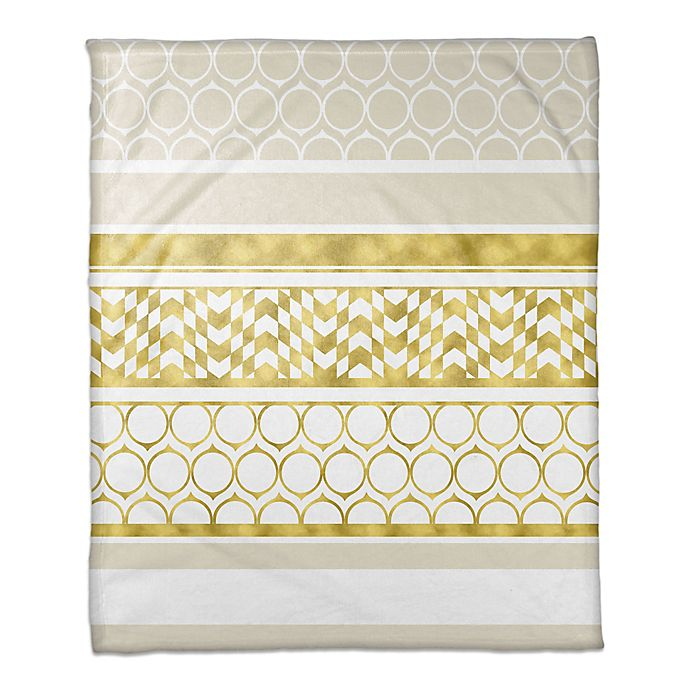 Alternate image 1 for Layered Patterns Throw Blanket in Gold/Cream