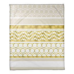 Layered Patterns Throw Blanket in Gold/Cream