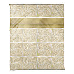 Geometric Spiral Throw Blanket in Gold/Ivory