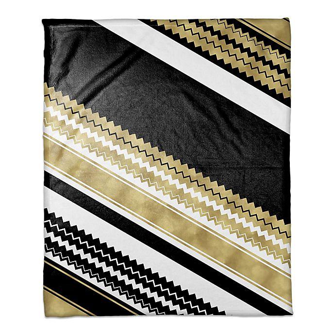 Alternate image 1 for Chevron Layered Throw Blanket in Gold/Black