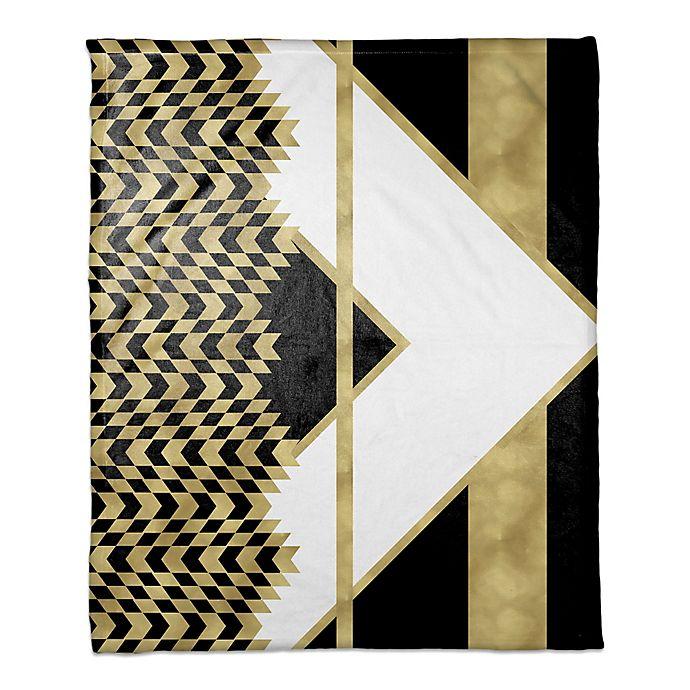 Alternate image 1 for Alternating Chevron Throw Blanket in Black/Gold