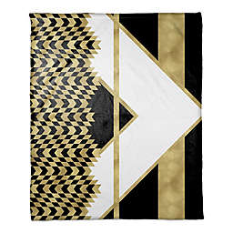 Alternating Chevron Throw Blanket in Black/Gold