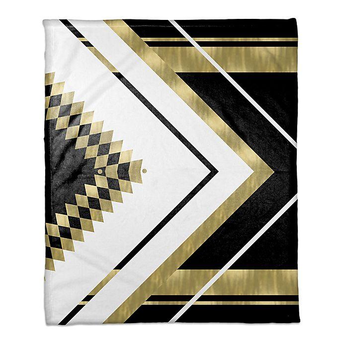 Alternate image 1 for Symmetrical Pattern Throw Blanket in Black/Gold