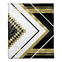 Symmetrical Pattern Throw Blanket in Black/Gold
