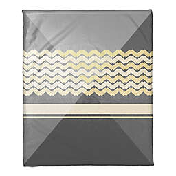 Multi Angled Tones Throw Blanket in Grey/Yellow