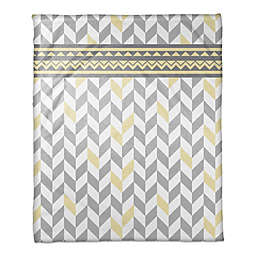 Chevron Bone Throw Blanket in Grey/Yellow
