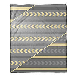 Arrows and Stripes Throw Blanket in Grey/Yellow