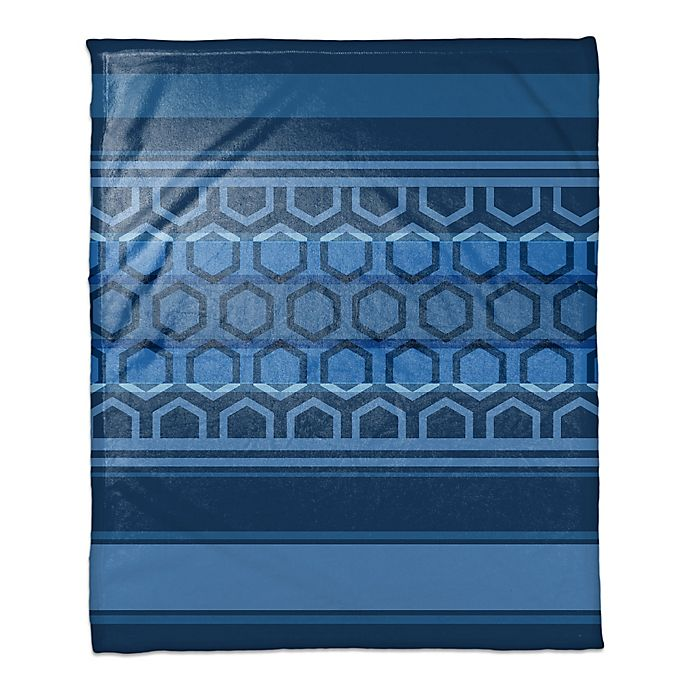 Alternate image 1 for Hexagonal Bands Throw Blanket in Navy