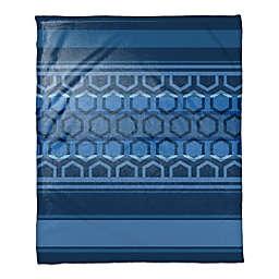 Hexagonal Bands Throw Blanket in Navy