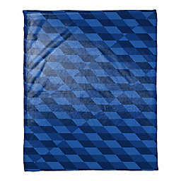 Checkered Abstract Throw Blanket in Blue