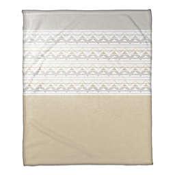 Neutral Tone Chevron Throw Blanket in Beige/Cream