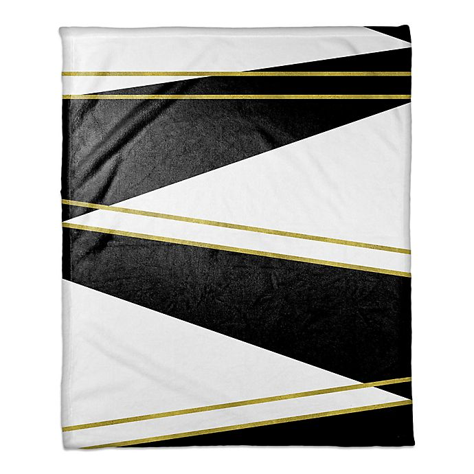Alternate image 1 for Black and White with Gold Trims Throw Blanket