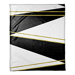 Black and White with Gold Trims Throw Blanket