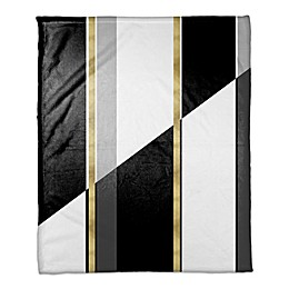 Black and White Inversed with Gold Throw Blanket