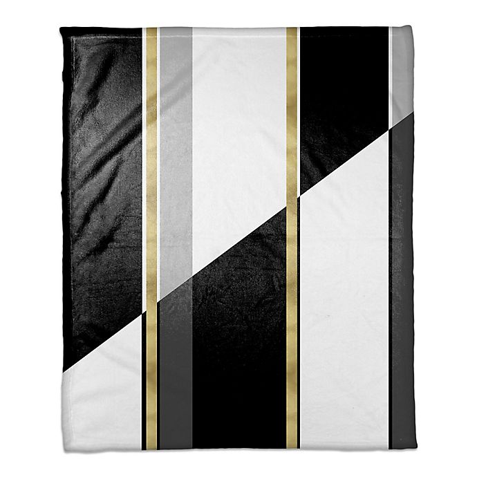 Alternate image 1 for Black and White Inversed with Gold Throw Blanket