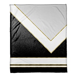 Simple Black and White with Gold Throw Blanket