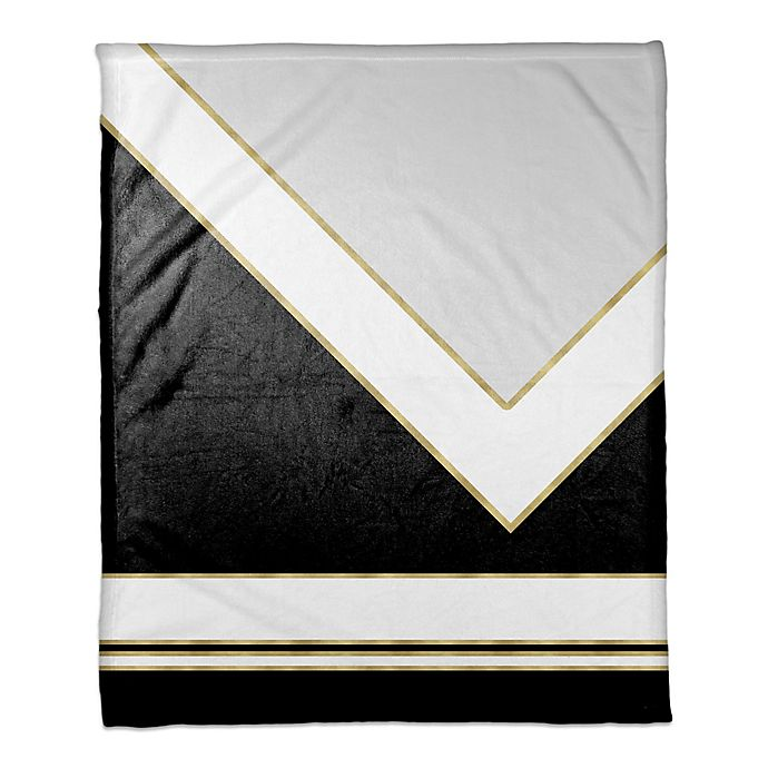 Alternate image 1 for Simple Black and White with Gold Throw Blanket