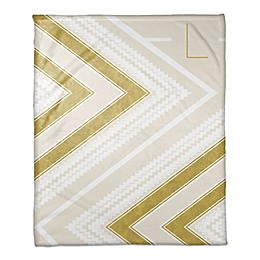 Zigzag Personalized Throw Blanket in Gold and Cream