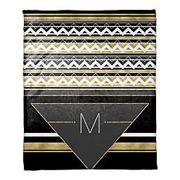 Geo Chic Throw Blanket in Black/White/Gold