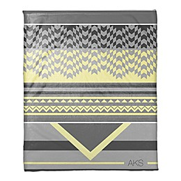 Mellow Yellow Checkered Personalized Throw Blanket in Grey