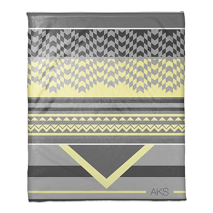 Alternate image 1 for Mellow Yellow Checkered Personalized Throw Blanket in Grey