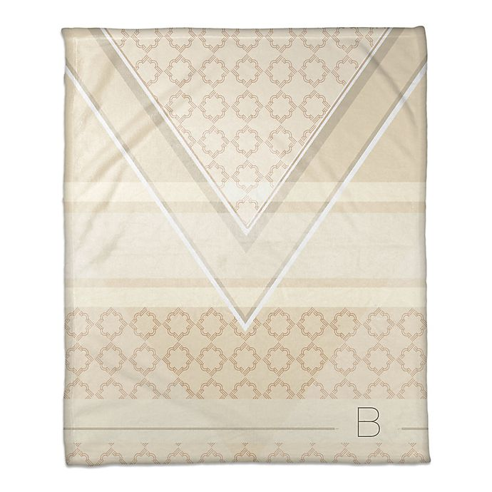 Alternate image 1 for Geo Personalized Throw Blanket in Ivory