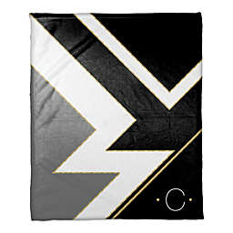 Color Blocked Personalized Throw Blanket in Black/White/Gold