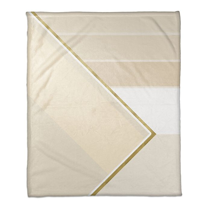Alternate image 1 for Layered Pattern Throw Blanket in Ivory/Gold