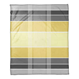 Plaid Throw Blanket in Grey/Yellow