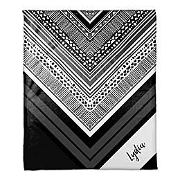 Tribal Printed Throw Blanket in Black/White
