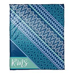 Blue Toned Boho Personalized Throw Blanket