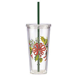 Lenox® Holiday Ribbon Tumbler with Straw and Lid