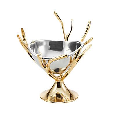 Lunares Manzanita Pedestal Nut Dish in Silver/Glod
