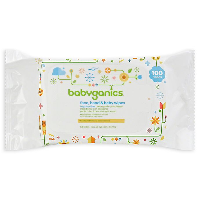 Alternate image 1 for Babyganics® 100-Count Fragrance-Free Face, Hand Baby Wipes