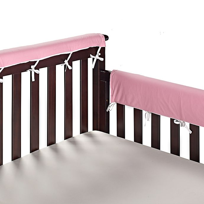 Alternate image 1 for Go Mama Go 30-Inch x 12-Inch Cotton Couture Teething Guards in Pink/White (Set of 2)