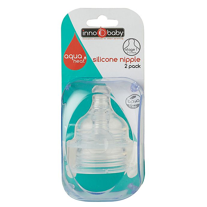 Alternate image 1 for Aquaheat™ by Innobaby 2-Pack Wide-Neck Stage 1 Slow Flow Silicone Nipples