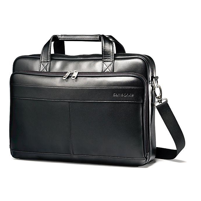 Samsonite® Leather Slim Briefcase in Black  9f09c2ae70e07