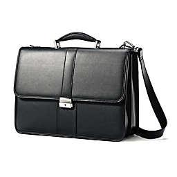 Samsonite® Leather Flapover Business Case in Black