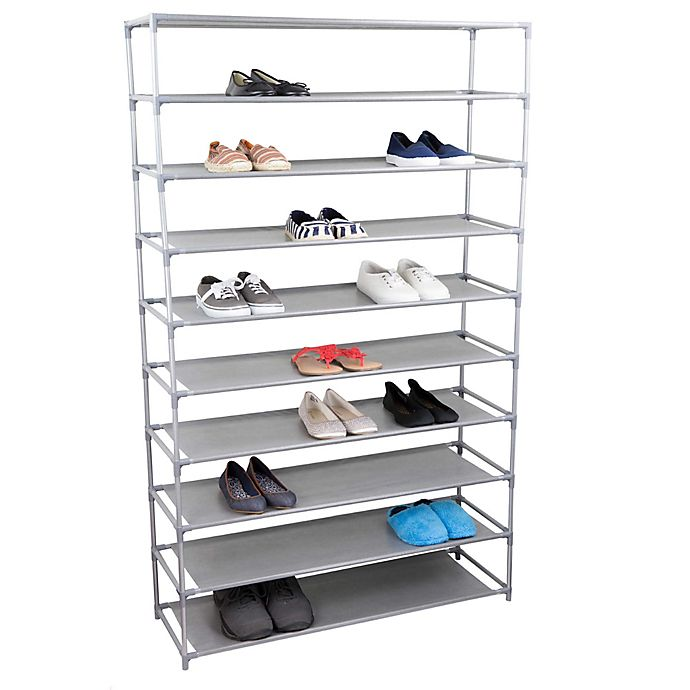 Alternate image 1 for Home Basics® 10-Tier Plastic and Fabric Wide Shoe Rack in Grey
