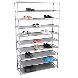 Home Basics 10 Tier Plastic And Fabric Wide Shoe Rack In Grey