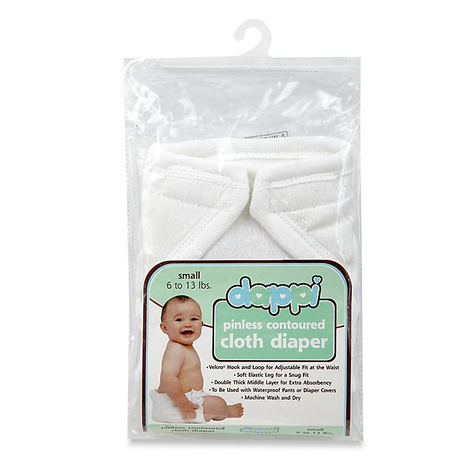 Alternate image 1 for Dappi Small Pinless Contoured Cloth Diaper in White