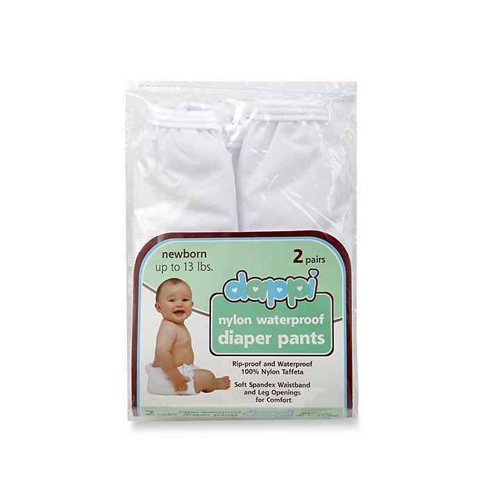 Alternate image 1 for Dappi 2-Pack Waterproof 100% Nylon Newborn Diaper Pants in White