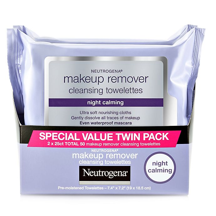 Alternate image 1 for Neutrogena® Twin Pack 25-Count Night Calming Makeup Remover Cleansing Towelettes