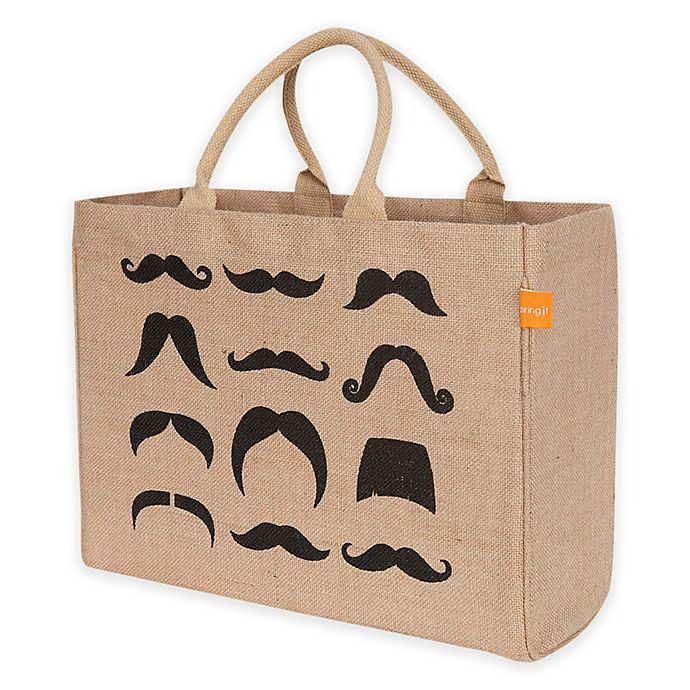 Alternate image 1 for Jute Mustaches Market Tote Bag in Black