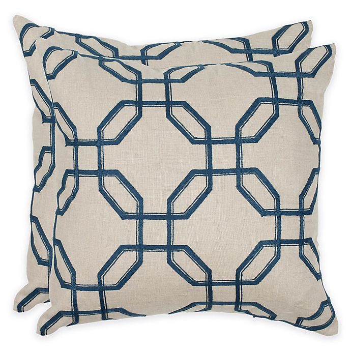 Alternate image 1 for Safavieh Hayden 22-Inch Square Throw Pillows in Indigo (Set of 2)