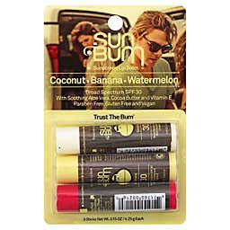 Sun Bum® Sunscreen Lip Balm in Coconut, Banana, and Watermelon SPF 30 (Set of 3)